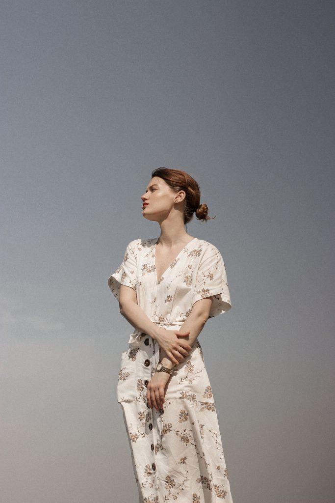 woman wearing a floral dress